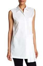 Dkny Sleeveless Collared Side Pleated Blouse White
