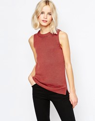 Glamorous High Neck Sleeveless Top Rust Red