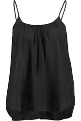 L'agence Baily Gathered Silk Georgette Camisole Black