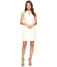 Christin Michaels Britta Sleeveless Keyhole Dress With Pearl Neckline Ivory Women's Dress White