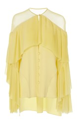 Prabal Gurung Long Sleeve Silk Blouse With Pleated Front Yellow