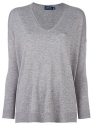 Polo Ralph Lauren V Neck Fine Knit Jumper Grey