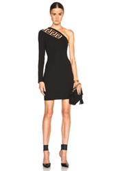 Versus One Shoulder Jersey Dress With Cutout In Black