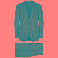 Cifonelli Checked Wool Blend Suit Black