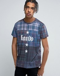 Bando Plaid Printed T Shirt Navy