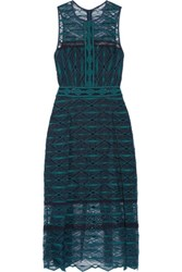 Jonathan Simkhai Embroidered Tulle Midi Dress Teal