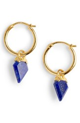 Missoma Mini Shield Hoop Earrings Lapis Gold