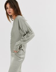 Weekday Limited Edition Long Sleeve Top With Satin In Olive Green