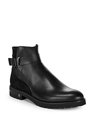 Versace Leather Ankle Strap Boots Black