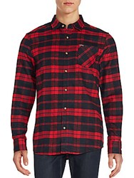 Buffalo David Bitton Plaid Button Front Sportshirt Black Red
