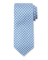 Stefano Ricci Small Flower Silk Tie Blue White