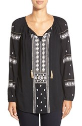 Women's Caslon Embroidered Peasant Tunic Top Black Ivory Embroidery
