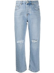 Msgm High Rise Straight Jeans Blue