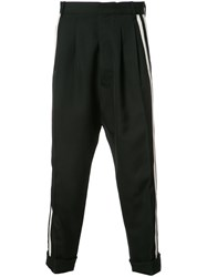 Haider Ackermann Drop Crotch Pleated Cropped Trousers Black