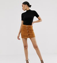 Bershka Button Front Mini Skirt In Tan Beige