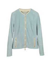 Forzieri Light Blue Perforated Suede Women's Jacket