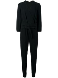 Vanessa Bruno V Neck Belted Jumpsuit Black