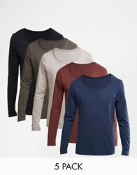 Asos Long Sleeve T Shirt With Scoop Neck 5 Pack Save 23 Multi