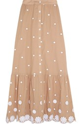 Miguelina Aiden Embroidered Cotton Skirt Sand