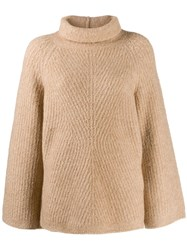 Theory Rollneck Cable Knit Sweater Neutrals
