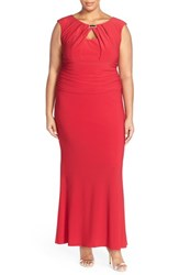 Plus Size Women's Marina Embellished Neck Jersey Gown