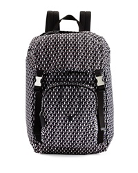 Prada Octagon Print Nylon Double Buckle Backpack Blue Gray