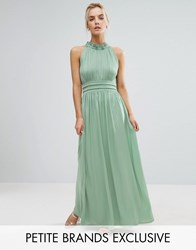 Little Mistress Petite Ruched Pleated Maxi Prom Dress Sage Green
