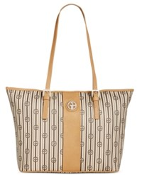 Giani Bernini Stripe Signature Tulip Tote Only At Macy's Tan Brown