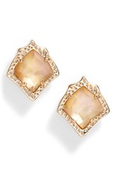 Kendra Scott Women's Kirstie Stud Earrings Dark Brown Mop Rose Gold