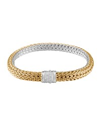 Classic Chain Gold And Silver Diamond Medium Reversible Bracelet John Hardy