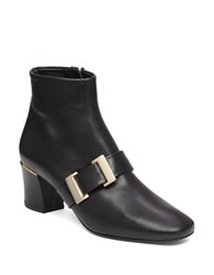 Delman Leather Ankle Boots Black