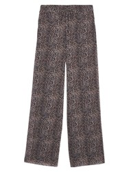 Mango Leopard Print Palazzo Trousers Medium Brown