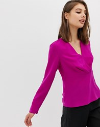 Warehouse Blouse With Wrap Front In Pink