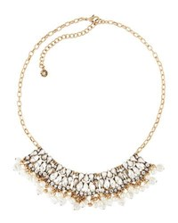 Lydell Nyc Crystal And Dangly Simulated Pearl Bib Necklace Cream
