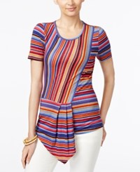 Eci Striped Asymmetrical Hem Top Warm Stripe