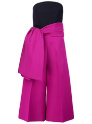 Christian Siriano Wide Side Tie Cropped Trousers Pink And Purple