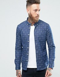 Asos Skinny Denim Shirt With Cross Print In Rinse Wash And Long Sleeve Mid Wash Navy
