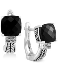 Effy Collection Effy Black Onyx 3 1 2 Ct. T.W. And Diamond Accent Earrings In Sterling Silver