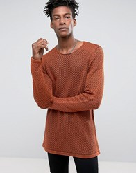 Asos Longline Knitted Textured Mesh Jumper In Rust Rust Orange
