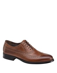 Johnston And Murphy Duvall Wingtip Calfskin Leather Oxfords Tan