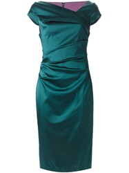 Talbot Runhof Cap Sleeve Fitted Dress Green