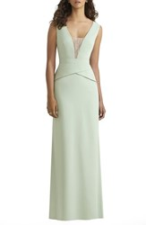 Women's Social Bridesmaids Lace Inset V Neck Peplum Detail Gown