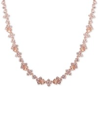 Givenchy Rose Gold Tone Crystal Collar Necklace Pink