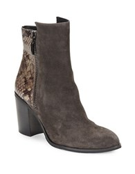 Kenneth Cole Ingrid Suede And Snakeskin Ankle Boots Grey