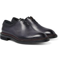 Berluti Whole Cut Polished Leather Oxford Shoes Midnight Blue