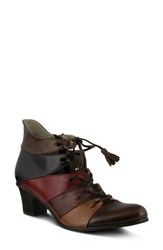 Spring Step Women's Estrela Ghillie Bootie Brown Multi Leather