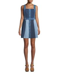 7 For All Mankind Button Down Sleeveless Patchwork A Line Denim Dress Blue