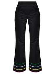 Anna October Ric Rac Trimmed Flared Trousers Black Multi