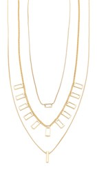 Madewell Crystal And Stick Necklace Set Light Gold Ox
