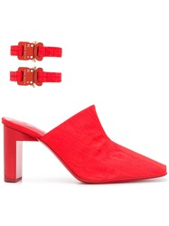 Alyx Ankle Strap Mules Red